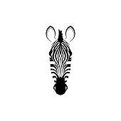 Head of a zebra. Flat zebra portrait for card, placard, invitation, book, poster, note book, sketch book.