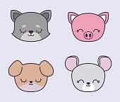 head of cute piggy with group animals vector illustration design