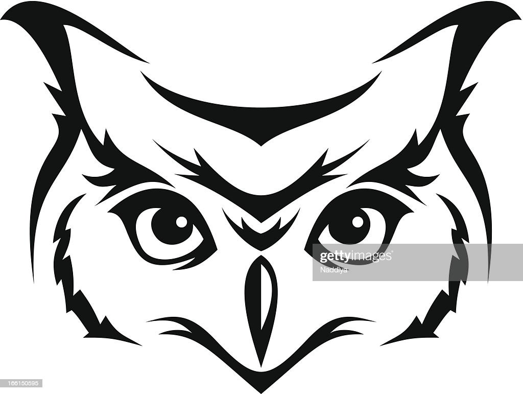 head of horned owl vector illustration vector art thinkstock rh thinkstockphotos com vector owl family clipart great horned owl vector art