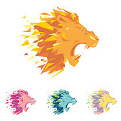 Head of lion is a sing template for the corporate identity of the company's business, sports club, brand of clothing or equipment. The leo growls, opened its toothy mouth. Male serious label.