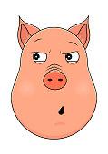 Head of pig in cartoon style. Vector illustration. Woodland animal head icon. Paranoid pig. Pig emotional head.
