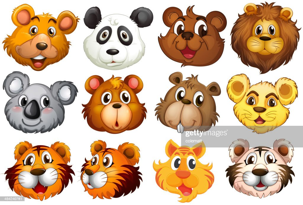 Head of the different animals : Vector Art