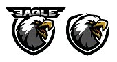 Head of the eagle, sport icon. Two versions. Vector illustration