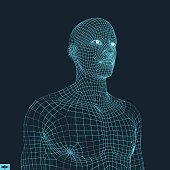 Head of the Person from a 3d Grid. Geometric Face Design. Polygonal Covering Skin. Vector Illustration.