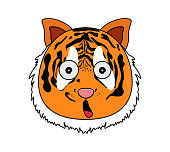 Head of tiger in cartoon style. Vector illustration. Woodland animal head icon. Amazed tiger. Tiger emotional head.