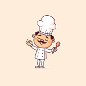 Cute chef with spoon vector cartoon illustration in kawaii style