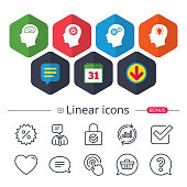 Calendar, Speech bubble and Download signs. Head with brain and idea lamp bulb icons. Male human think symbols. Cogwheel gears signs. Chat, Report graph line icons. More linear signs. Editable stroke