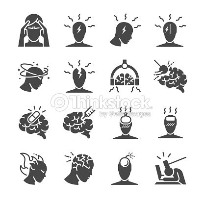 Headache icon set. Included the icons as Tension headaches, Cluster headaches, Migraine, brain symptom and more : stock vector