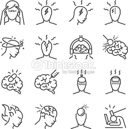 Kopfschmerzenlinieiconset Die Symbole Als Spannung Kopfschmerzen ...