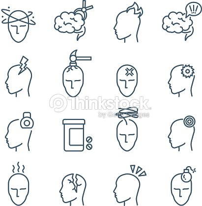 Headache, migraine pain treatment medical line vector icons : stock vector