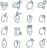 Headache, migraine pain treatment medical line vector icons. Migraine and sick, human headache and disease illustration