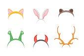 Cartoon Cute Headband with Ears Holiday Set. Flat Design Style. Christmas Mask Vector illustration