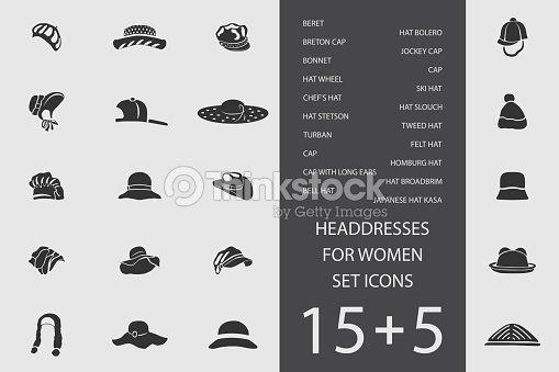 4300110a Headdresses For Women Set Of Flat Icons Vector Illustration stock ...
