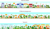 Header set in flat style. Website headers. Banner. Back to school. Children s playground. Seasons. Vector illustration. Buildings and nature elements big set.