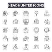 Headhunter line icons, signs set, vector. Headhunter outline concept illustration: job,business,recruitment,human,headhunting,people,team,career