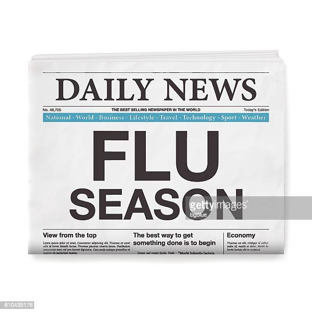 FLU SEASON Headline. Newspaper isolated on White Background