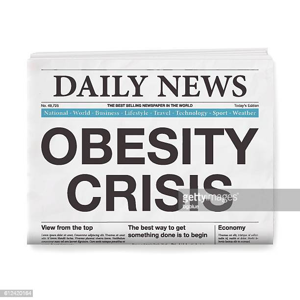 OBESITY CRISIS Headline. Newspaper isolated on White Background