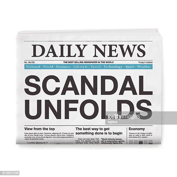 SCANDAL UNFOLDS Headline. Newspaper isolated on White Background