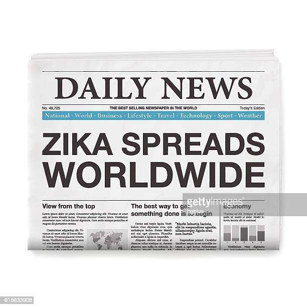 ZIKA SPREADS WORLDWIDE Headline. Newspaper isolated on White Background