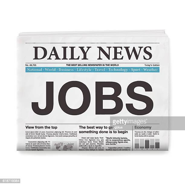 JOBS Headline. Newspaper isolated on White Background