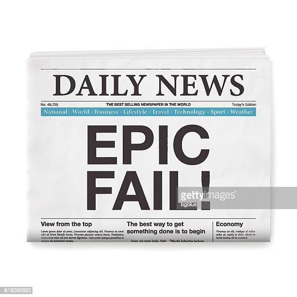 EPIC FAIL! Headline. Newspaper isolated on White Background