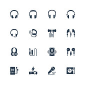 Headphones and audio equipment icon set in glyph style