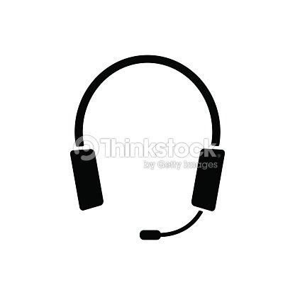 Kopfhörer Kopfhörer Mit Dem Mikrofonsymbol Kommunikation Symbol ...