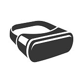 VR Headset Icon. 3D Style Virtual Reality Device. Vector illustration