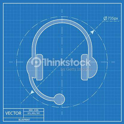 Headset icon blueprint style vector art thinkstock blueprint style vector art malvernweather Gallery