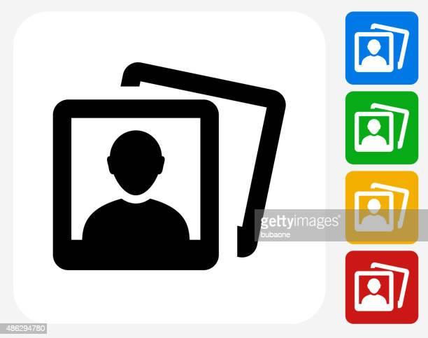 Headshot Pictures Icon Flat Graphic Design
