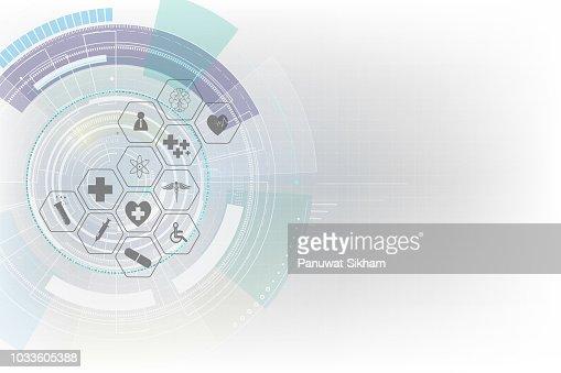 icône de santé innovation médicale concept arrière-plan modélisme : Clipart vectoriel
