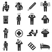 Disease states. Health conditions , simple symbols collection