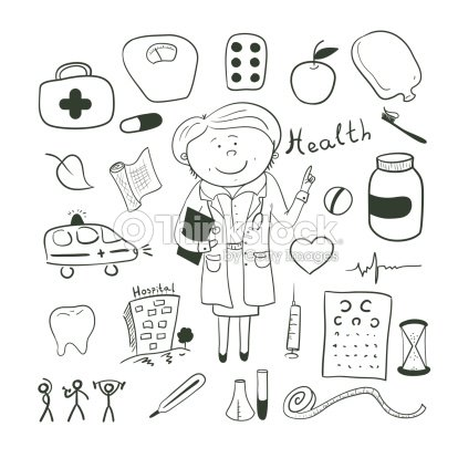 Health Icons Doodle Ilustration Woman Doctor stock vector