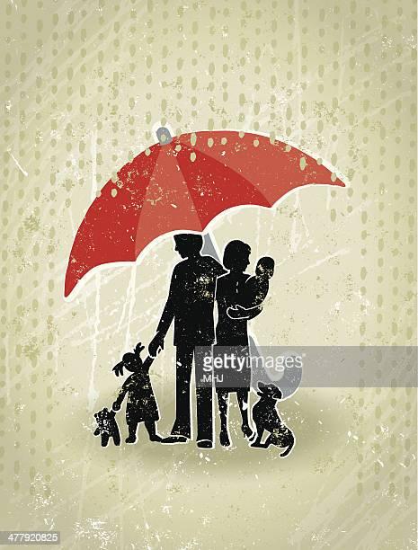 Health Insurance Giant Umbrella Protecting A Family From Rain