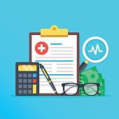 Health insurance, healthcare concept. Health insurance form, calculator, pen, glasses, money, magnifier flat design graphic elements, flat icons set for web banners, websites, etc. Vector illustration