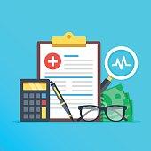 Health insurance, healthcare concept. Health insurance form, calculator, pen, glasses, money, magnifier flat design graphic elements, flat icons set for web banners, websites, etc. Vector illustration
