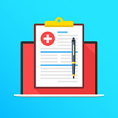Health insurance on laptop screen. Notebook and clipboard with medical record and pen. Online document. Filling application form concepts. Modern long shadow flat design graphic elements. Vector illus