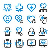 health,heart line icon set
