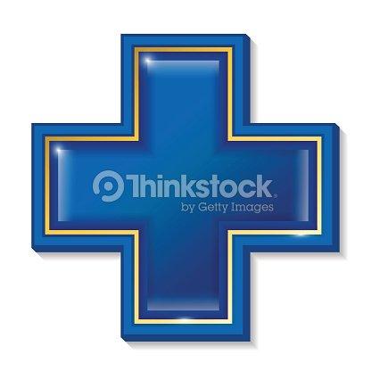 Servizi Sanitari Segno Simbolo Cross Blue Arte Vettoriale Thinkstock