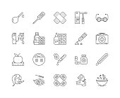 Health supplements line icons, linear signs, vector set, outline concept illustration