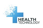 Health technology  template. Medicine blue cross pixel abstract design