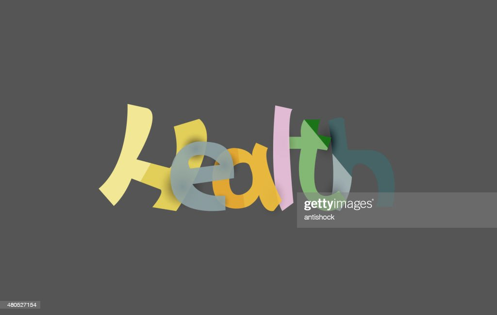 Health word, drawn lettering typographic element : Vectorkunst