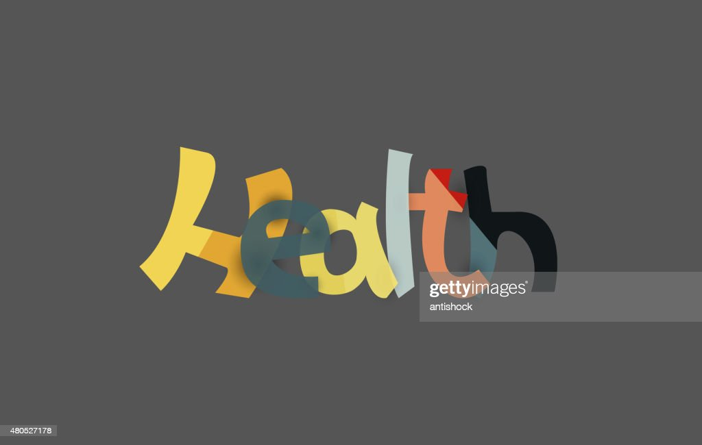 Health word, drawn lettering typographic element : Vectorkunst