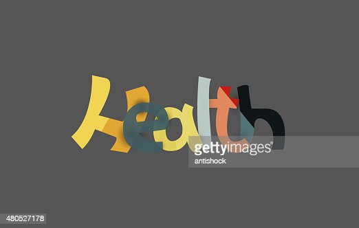 Health word, drawn lettering typographic element : Vector Art