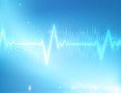 Vector illustration of electrocardiogram line on blue soft background.