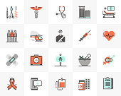 Flat line icons set of medical center, healthcare elements. Unique color flat design pictogram with outline elements. Premium quality vector graphics concept for web, logo, branding, infographics.