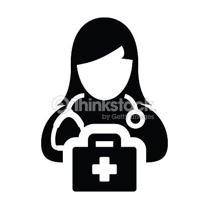 Healthcare Icon Vector Female Doctor Person Profile Avatar With
