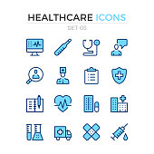Healthcare icons. Vector line icons set. Premium quality. Simple thin line design. Stroke, linear style. Modern outline symbols, pictograms
