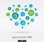 Healthcare, integrated thin line web icons in heart shape. Digital neural network interact concept. Connected polygons system. Abstract background for medicine and medical service. Vector Infograph