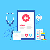 Healthcare medical app. Vector illustration. Mobile healthcare concepts. Flat design. Smartphone with medical information on screen, pills, capsule, pen, note pad and stethoscope